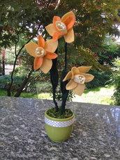 Vaso fiori narcisi in feltro