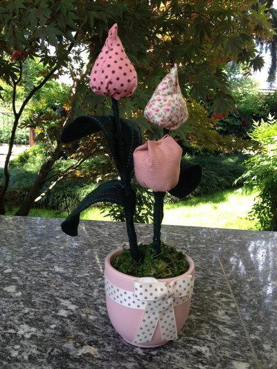 Vaso fiori tulipani in stoffa