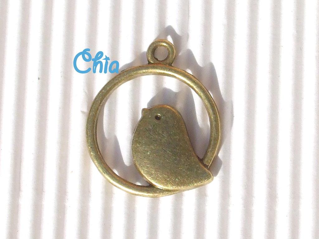 5 charms uccellino nel cerchio bronzo