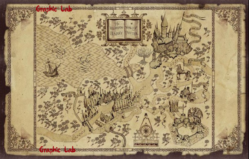 Mappa Vintage Fantasy Harry Potter Hogwarts, Game of Thrones, Narnia, Signore degli Anelli