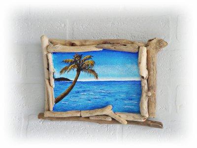Quadretto con legni di mare e pittura acrilica