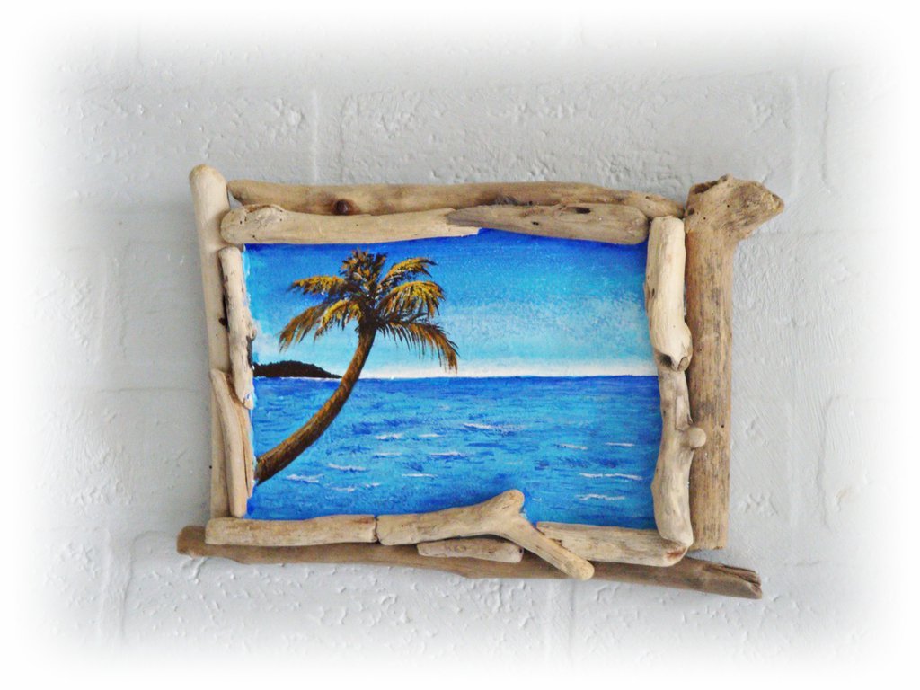Quadretto con legni di mare e pittura acrilica per la for Legni di mare arredamento