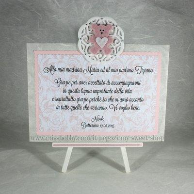 Targhetta con orsetto versione rosa - regalo bomboniera madrina padrino Battesimo