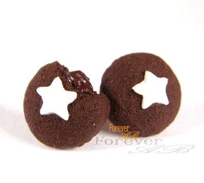 Orecchini perno lobo merendine cioccolato stella in fimo idea regalo