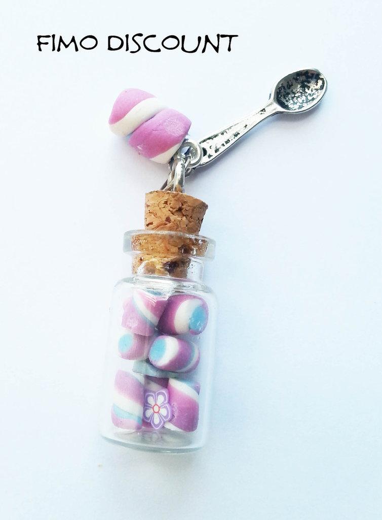 Ciondolo Miniatura marshmallow con bottiglietta
