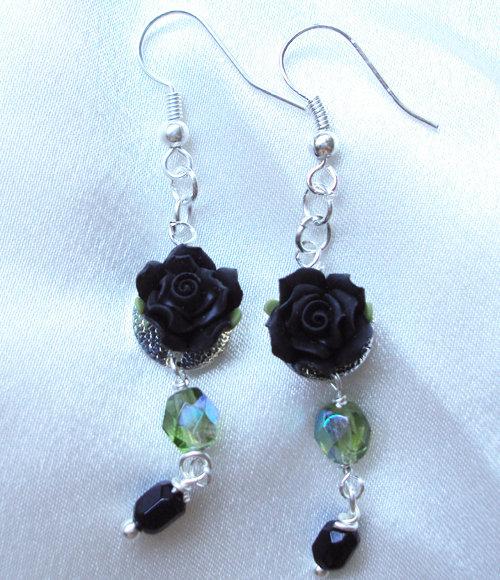 """Orecchini fiori """"Black rose"""""""