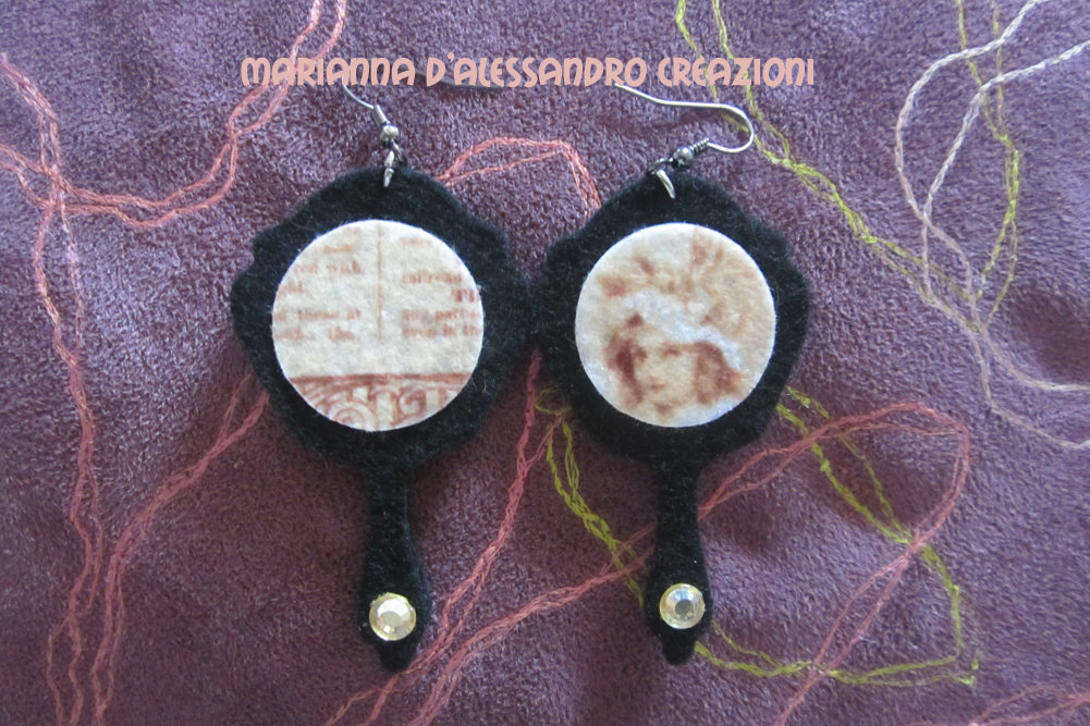 """Orecchini pendenti vintage in feltro decorato serie """"Specchio"""""""