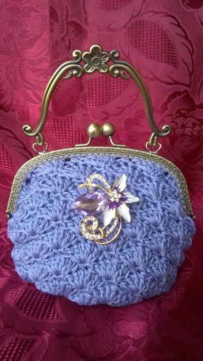 borsa elegante in cotone lilla