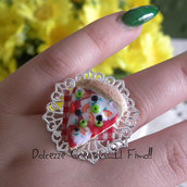 Anello - Cammeo con Fetta di pizza - Kawaii - miniature-  mozzarella