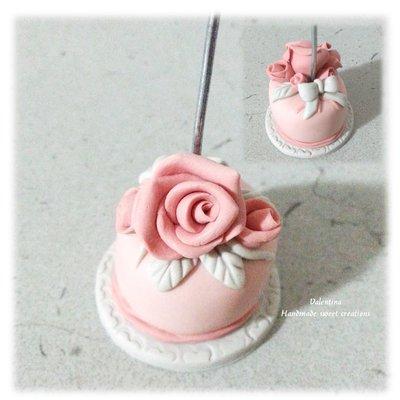 Tortina segnaposto rose fiocco
