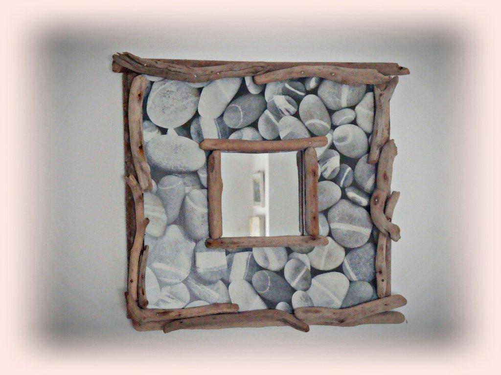 """Specchio   """"GALET""""con legni di mare"""