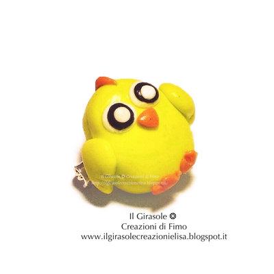 Spilla pulcino pasquale giallo in fimo