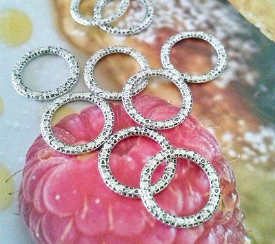 10 anellini chiusi in argento antico da mm. 14