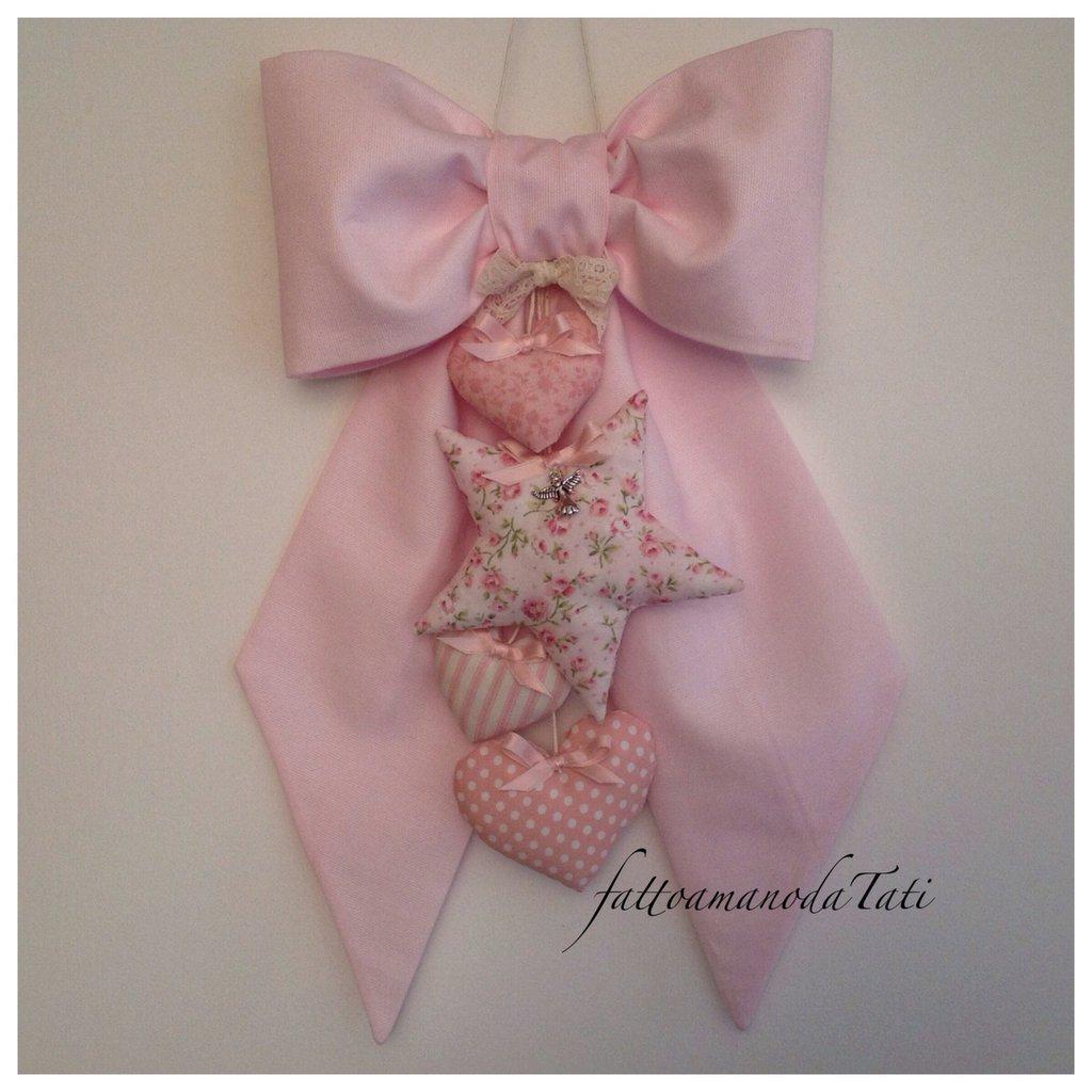 Fiocco nascita in piquet di cotone rosa con stella e cuori