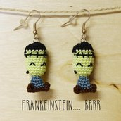 Orecchini uncinetto amigurumi Frankenstein