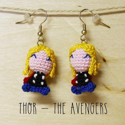 orecchini uncinetto amigurumi Thor Avengers