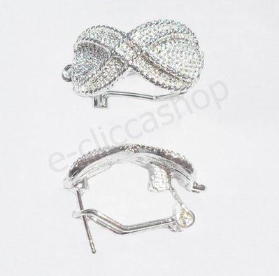 Base orecchini papillon in ottone rodiato argento 1 coppia