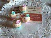 Anelli regolabili cupcake in fimo