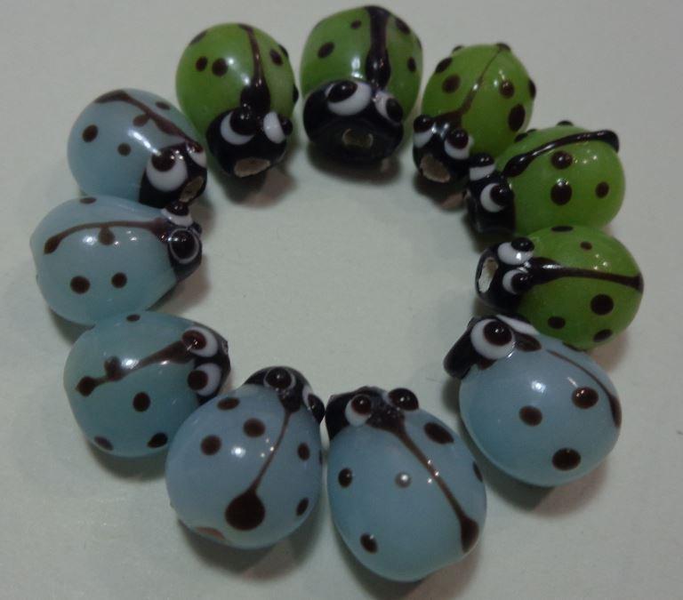 11 Perline Coccinelle Vetro 2 Colori