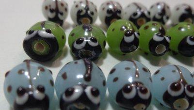24 Perline Coccinelle Vetro 3 Colori