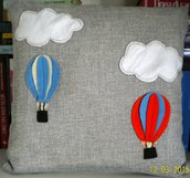 cuscino  con applicazione di mongolfiere