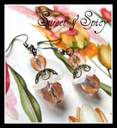 FLOWERS COLLECTION-ROSE CRYSTAL EARRINGS-ORECCHINI VINTAGE CON CRISTALLI
