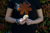 T-shirt 100% Organic FIORE - Bianca unisex (Taglia M)