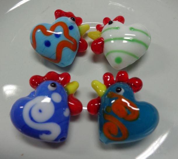4 Perline Galline in Vetro 4 colori