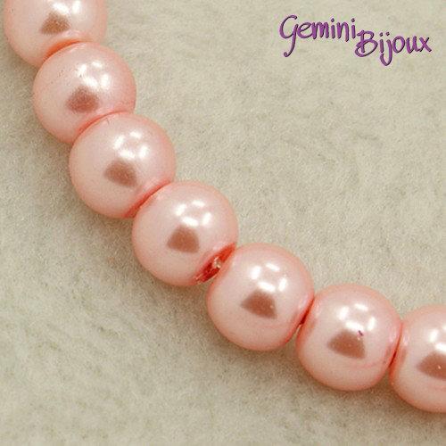 Lotto 20 perle tonde in vetro cerato 8mm rosa