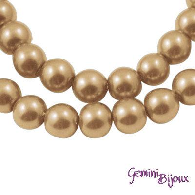 Lotto 20 perle tonde in vetro cerato 8mm gold