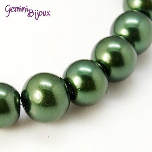 Lotto 20 perle tonde in vetro cerato 8mm verde scuro