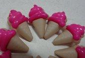 10 Bottoni in acrilico CONO GELATO colore LAMPONE