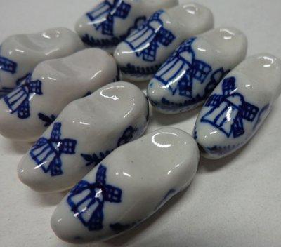 8 Perline in Porcellana Zoccolo Olandese