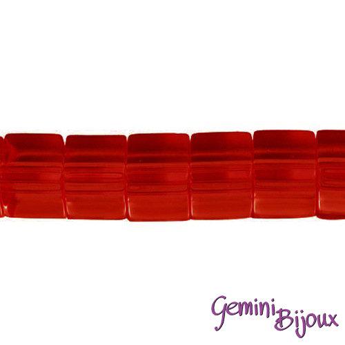 Lotto 20 cubi in vetro 6mm rosso