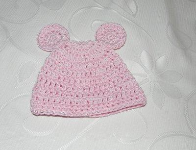 Inserzione riservata cappellino coniglietta rosa realizzato ad uncinetto