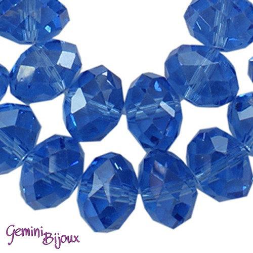 Lotto 10 rondelle in vetro sfaccettate 8x6 royal blue