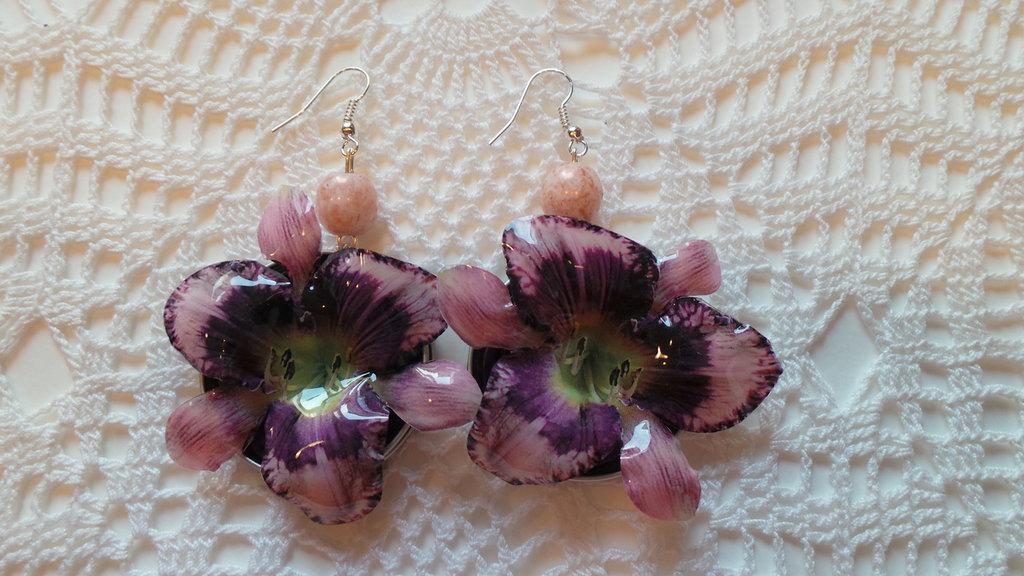 orecchini orchidea viola