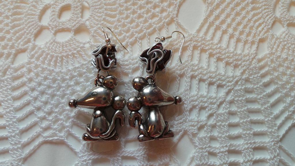 coppia orecchini topolini