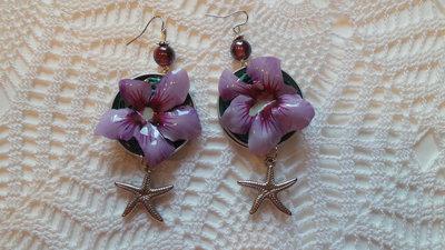 orecchini hibiscus con stella marina