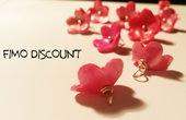 10 Ciondoli in Fimo a forma di fiore rosso/ rosa