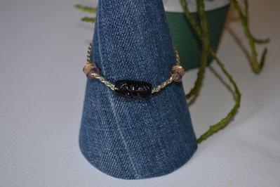 Braccialetto catena argentata con perle in resina