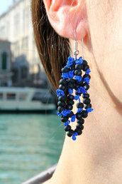 Orecchini pendenti Giudecca nero-blu
