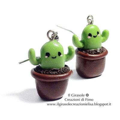 Orecchini pendenti con Cactus Kawaii in fimo