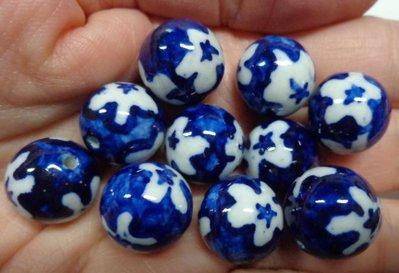 10 Perline in Porcellana Blu