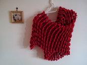 Sciarpa Stola fatta ai ferri filato pon pon rossa