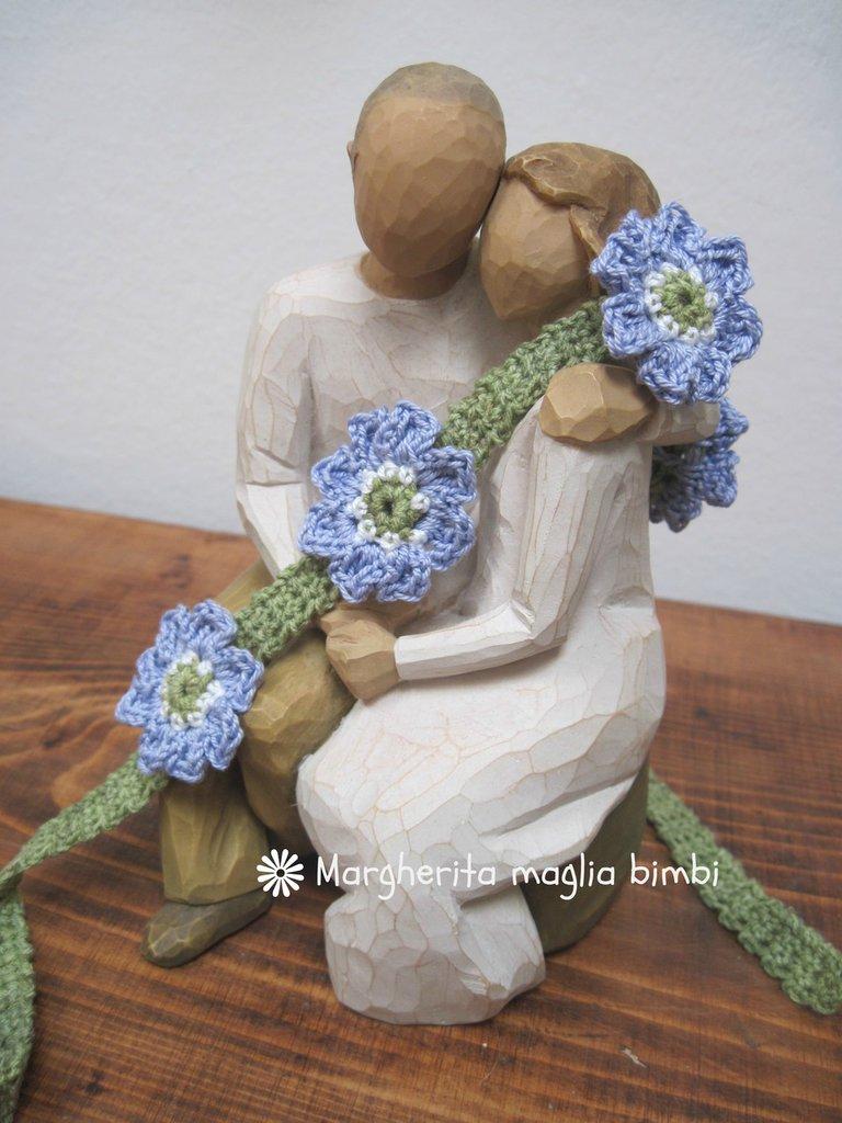 Fascia capelli - braccialetto bambina in cotone con fiori fatta a mano all'uncinetto