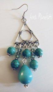 orecchini in turchese fatti a mano
