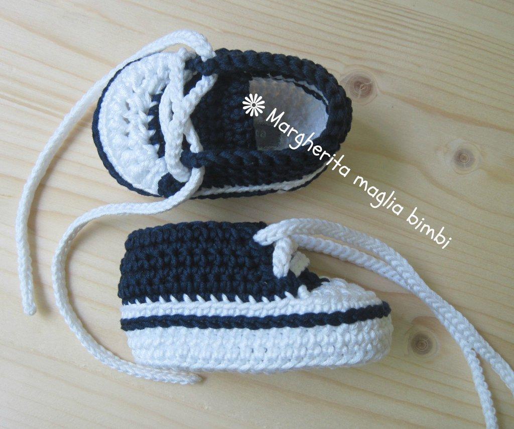 Scarpine/sneakers navy bambino fatte a mano all'uncinetto in puro cotone