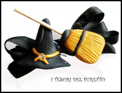 Riservato A Nennè Orecchini strega + fermaglio strega con cappello e scopetta
