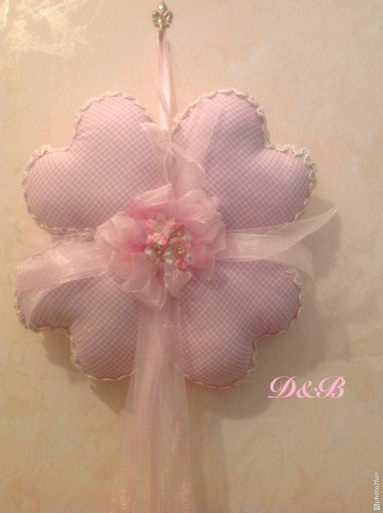 Fiocco nascita  con cuori rosa